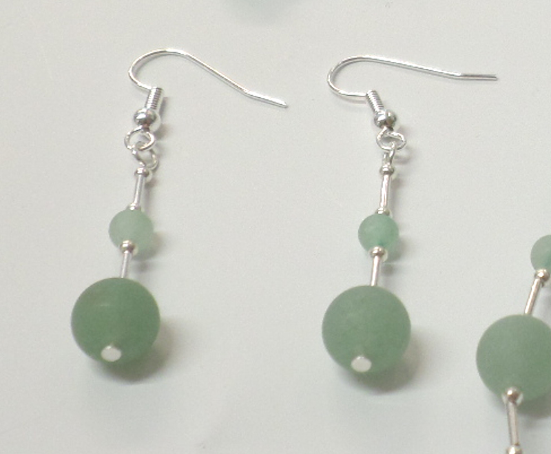 Aventurine (green frosted) Earrings