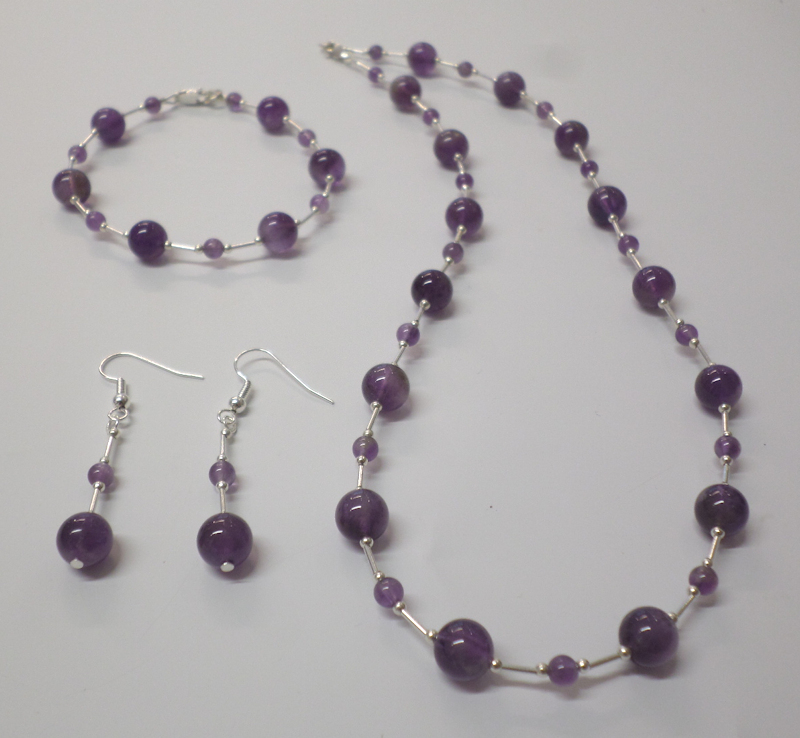 Amethyst Necklace, Bracelet and Earring SET