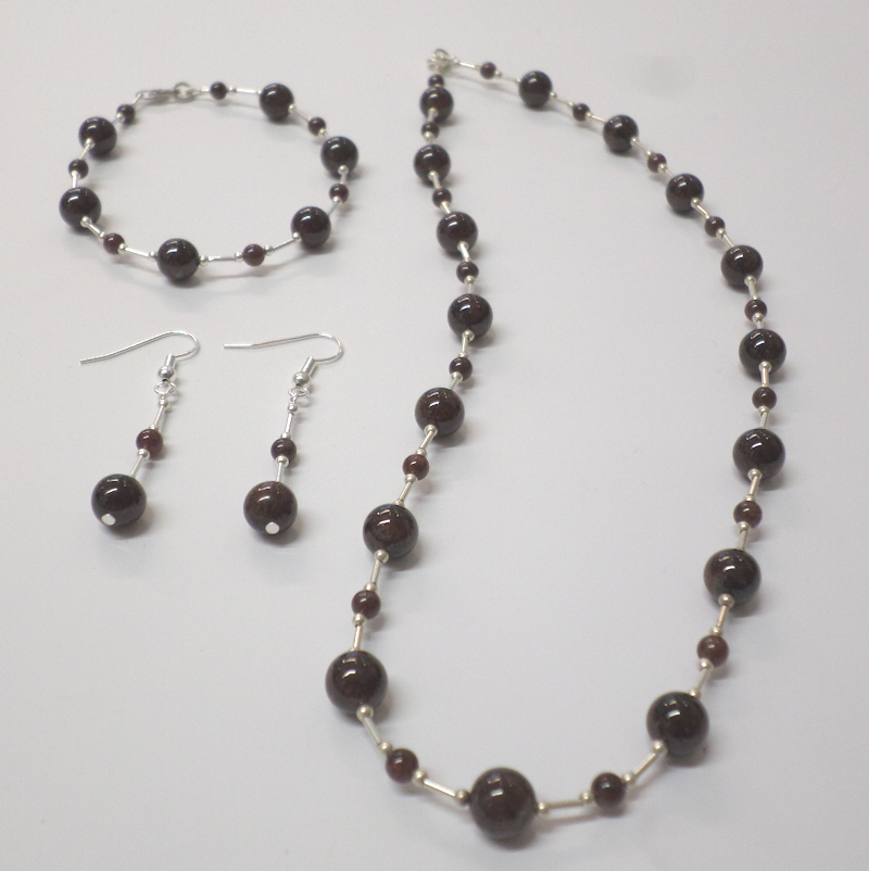 Garnet Necklace, Bracelet and Earring SET