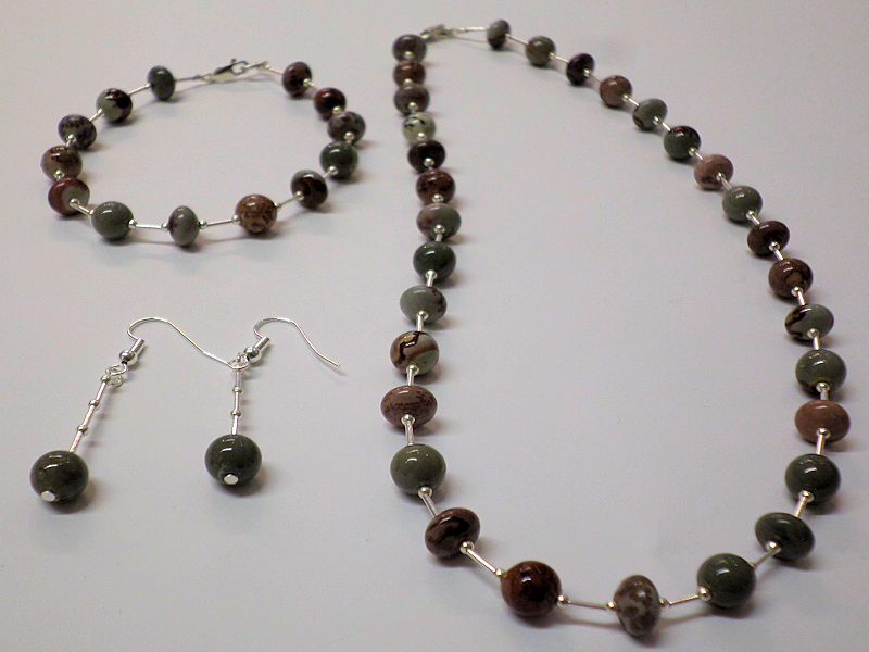 Coffee Bean Jasper Necklace, Bracelet and Earring SET