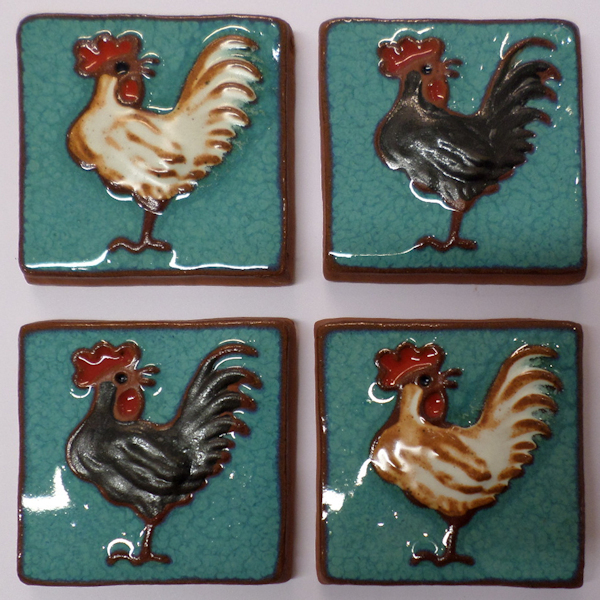 Cockerel tiles