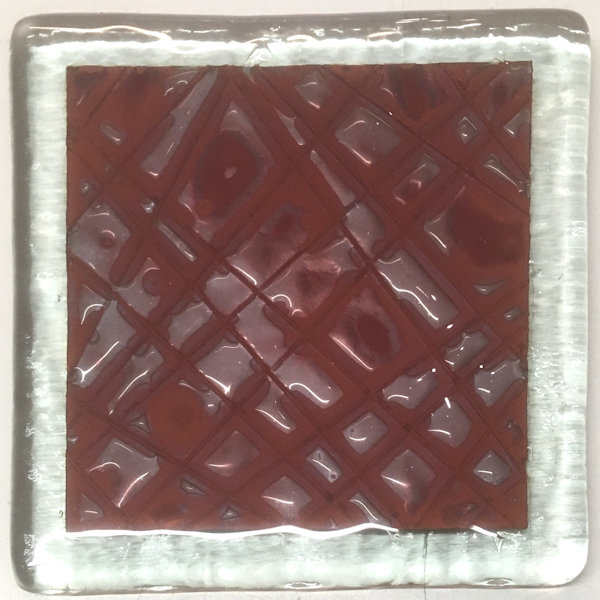 Copper Red Square Random lines Coasters (set of 2)